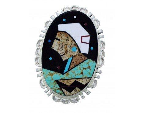 Calvin Desson, Ring, Navajo Grandma, Inlay, Sterling Silver, Navajo Handmade, 8