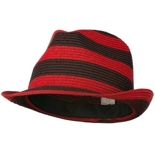 Paper Braid Striped Fedora Hat - Red Black OSFM]()