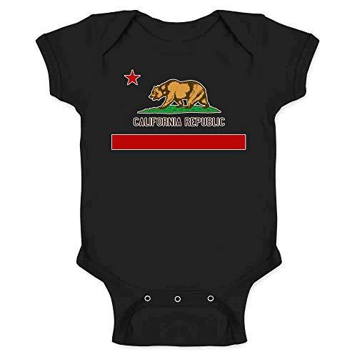 Pop Threads California Republic Calexit Flag Black 6M Infant Bodysuit ()