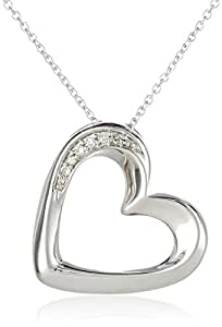 Women's Sterling Silver Diamond Resting Heart Pendant Necklace (0.06 cttw, I-J Color, I2 Clarity)