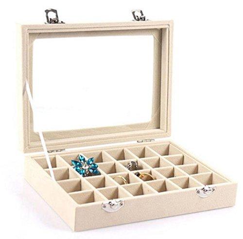 Homespun Jewelry Ring Display Organizer Box Tray Biege 20.2 X 15.1 X 4.9 Cm Holder Earring Storage Case - Renaissance Glass Pendant