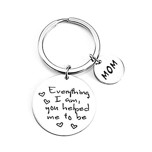 Mom Dad Keychain, Christmas Birthday Family Gifts for Mother Father,Everything I Am You Helped Me to Be