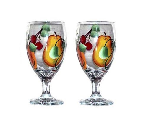 ArtisanStreet's Set of 2 Hand Painted Water Glasses with Fruit Design.