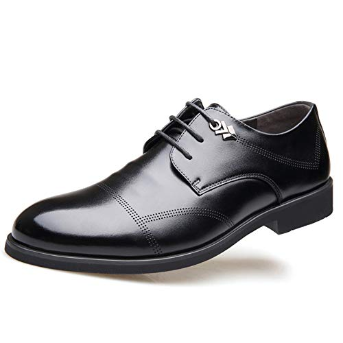 FZHLY Herren Real Spitzschuh Leder Derby Schuhe Gummisohle Schnürschuhe Super Fiber Futter EU 42 43 471 Black