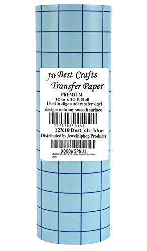 JH Best Crafts Clear 12 Inches X 10 Foot Roll Transfer Paper w/ Grid Perfect Alignment of Cameo or Cricut Self Adhesive Vinyl for Decals, Signs, Windows and Other Smooth Surfaces