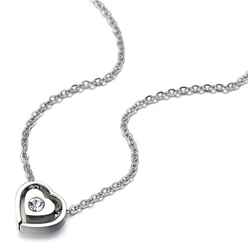 Small Double Love Hearts Pendant Necklace Stainless Steel with Cubic Zirconia and 18 Inches Chain