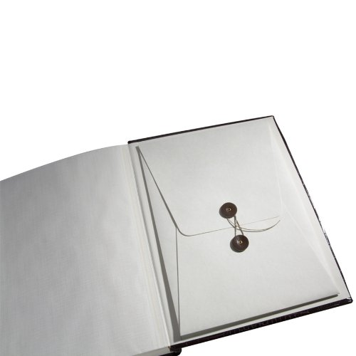 Genuine Italian Leather Bound Album, 100 Pages, Photo Squares Included, 9-1/8'' x 12-1/4'', Black