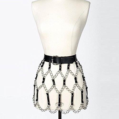 L'vow Women Sexy Punk Leather Body Harness Belt Adjustable Waist Leg Garter with Metal Chain (Black & silver) by L'vow (Image #1)