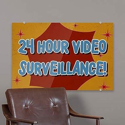 Nostalgia Burst Premium Acrylic Sign 5-Pack 27x18 24 Hour Video Surveillance CGSignLab