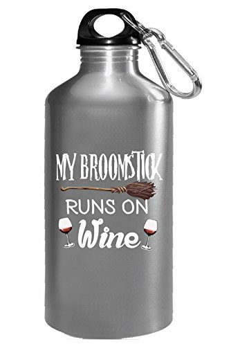 Costumes Ideas For Halloween Run (My Broomstick Runs On Wine Funny Halloween Costume Gift Idea - Water Bottle)
