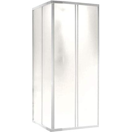 Riducibile Attraverso Il Taglio Del Binario Box Doccia A Due Porte Chiusura Ad Angolo A 90/° Prodotto In Pvc Atossico Autoestinguente Colore Bianco.