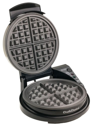 Chef'sChoice 830B WafflePro Taste and Texture Select Nonstick Classic Belgian Waffle Maker with Unique Quad Baking System Easy to Clean, 4-Slice, Silver