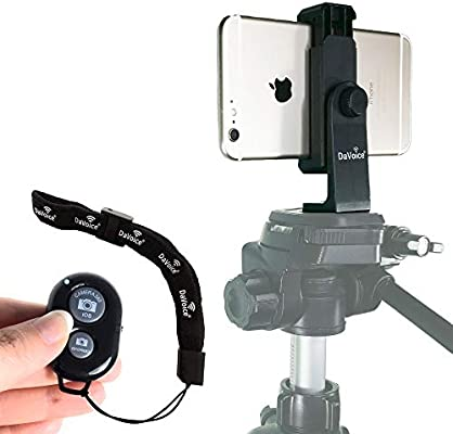 Rotates Vertical//Horizontal Foto/&Tech Smartphone Tripod Adapter Cell Phone Holder Tripod Mount Bracket Adjustable Selfie Clamp Compatible with iPhone 11 XR XS Max X 8 Galaxy S10 S9 Note 10 Android