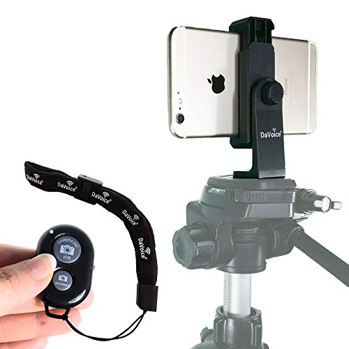 DaVoice Phone Tripod Mount + Wireless Remote Control Compatible with iPhone X XS Max XR 8 8 Plus 7 7 Plus 6 6 Plus 6S 6S Plus 5 - Samsung Galaxy S9 S9 Plus S8 S7 S7 Edge S6 S6 Edge S5 S4 (Black) (Iphone 6 Remote Control)