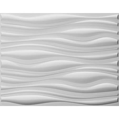 (Art3d Decorative 3D Wall Panels Wave Board Design for TV Walls/Bedroom/Living Room Sofa Background, Pack of 6 Tiles 32 Sq Ft (Plant Fiber))
