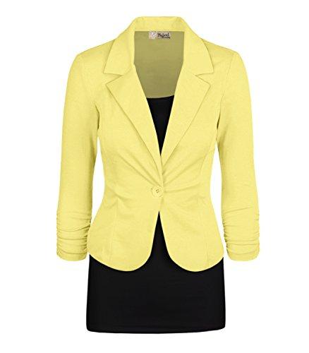 Women's Casual Work Office Blazer Jacket JK1131 Pastel Yellow Large