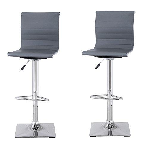 joveco curved back hydraulic lift adjustable mesh bar stools chrome finish pedestal base set of 2 dark grey leather - Amazon Bar Stools