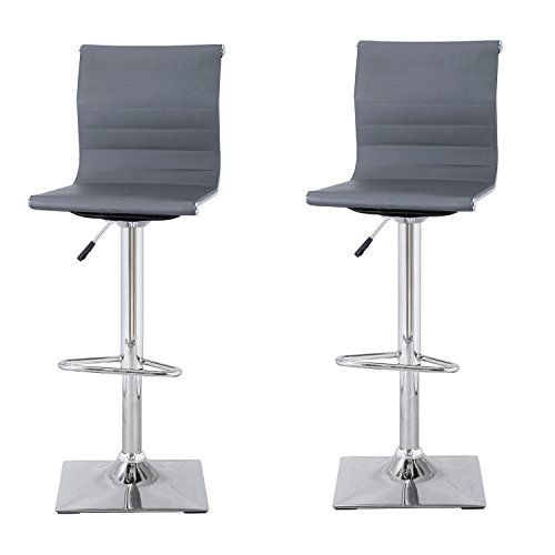 Joveco Curved Back Hydraulic Lift Adjustable Mesh Bar Stools Chrome Finish  Pedestal Base, Set Of 2 (Dark Grey Leather)