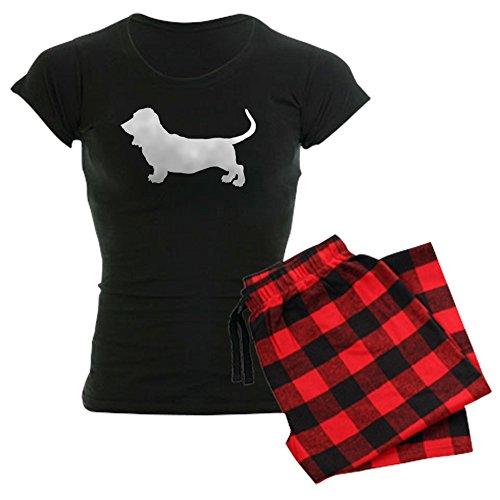 CafePress - Basset Hound Silhouette Women's Dark Pajamas - Womens Novelty Cotton Pajama Set, Comfortable PJ Sleepwear