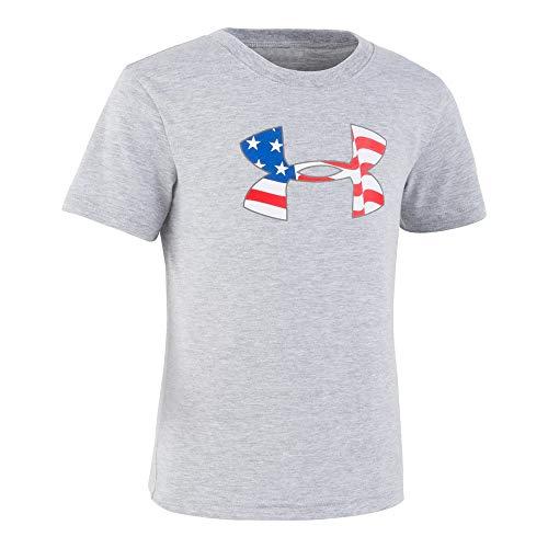 Under Armour Boys' Toddler Big Logo Short Sleeve Tee Shirt, Moderate Gray-S19, 2T