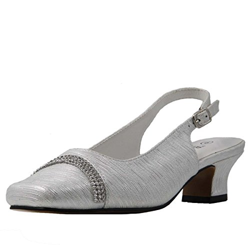 Bella Hanna Stylish & Comfort Women's Wide Width Rhinestone Band Low French Heel Pumps Shoes Silver
