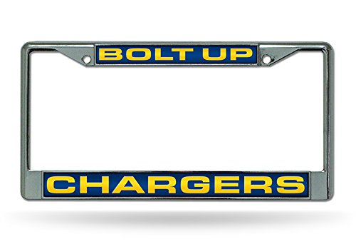Rico Industries NFL Los Angeles Chargers Bolt Up Laser Cut Inlaid Standard License Plate Frame, 6