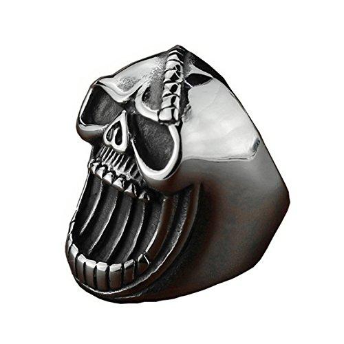 Stainless Steel Skull Bottle Opener Ring Gothic Biker Punk Vintage Ring for Men Women (Retro Cocktail Hour Halloween)