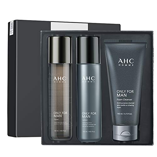 A.H.C Homme Only For Men Foam Cleanser Toner And Lotion Set Deep Cleansing Moisturizing And Nourishing The Skin