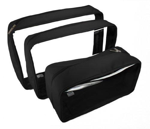Packies Zip Top Packing Cubes / Cosmetic Bags - Black - Set of 3 (Microfiber - Large) by DayMakers of Santa - Barbara Santa Malls