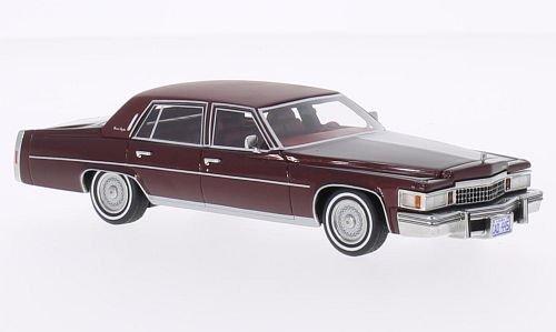Cadillac Fleetwood Brougham, metallic-dark red/matt-dark red, 1978, Model Car, Ready-made, BoS-Models 1:43