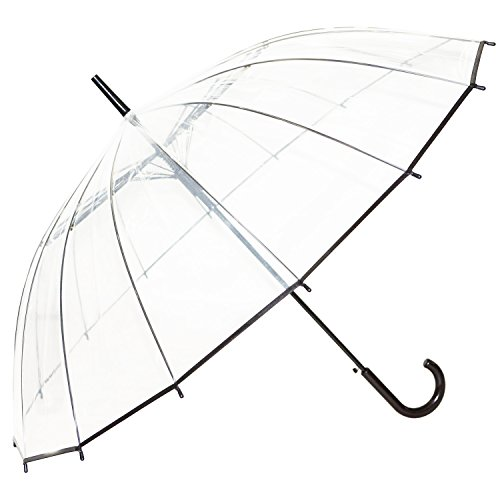Kung Fu Smith Windproof 16 RIBS Clear Umbrella for Women and Girls, Sturdy & Strong Transparent Weddings Umbrella with Black Hook Handle - Auto Open