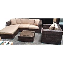 Six 6 Piece Rattan Outdoor Sofa Patio Garden Couch Furniture Set with 3 Color Matched Throw Pillows
