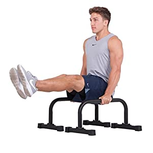 Leverage Fitness NEW Push up Stand Parallettes 12x24 inch Non-slip with Integrated Knurling Grip - Supports Strength HIIT Yoga ROM Gymnastics Conditioning Exercise Workouts