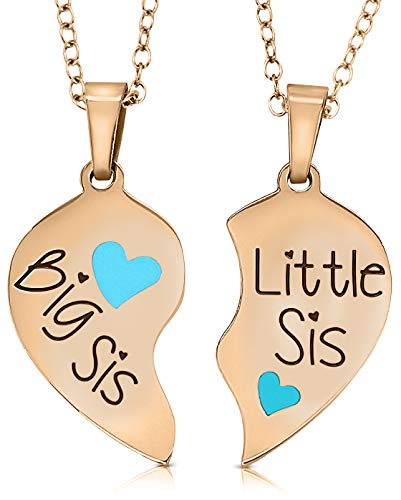 Big Sis & Lil Sis Easter Basket Gifts Heart Necklace Set, 2 Sister Necklaces for Teens & Girls, Big & Little Sisters, Best Friends BFF Jewelry Gifts, Granddaughter Birthday (Rose -