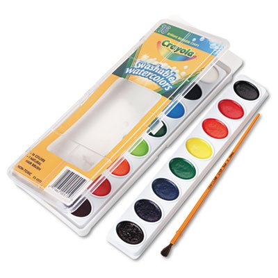 Crayola Products - Crayola - Washable Watercolor Paint, 16 Assorted Colors - Sold As 1 Each - Semi-moist paint colors wash off hands and most fabrics. (Moist Watercolor Semi Washable)