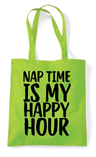 Hour Is Time Tote Bag Happy Nap Lime My Shopper IP6dqwx5x