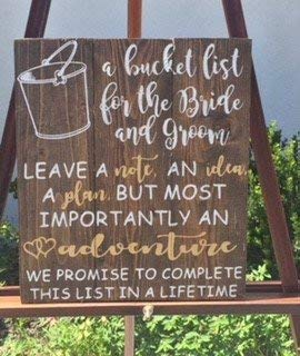 Iliogine Home Decorative Wood Sign Large A Bucket List for The Bride and Groom Wedding Sign Wedding Book Wedding Decor Bride and Groom Bucket List Plaque with Sayings