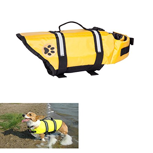 EXPAWLORER Yellow Dots Xsmall Designer Dog Life Jacket with Paw Pet Saver Vest Coat Flotation Float Aid Buoyancy