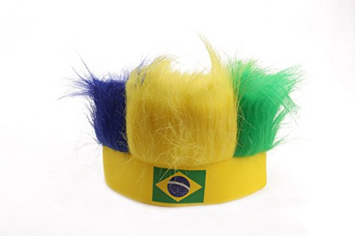[Dantiya Men's Sports Football Soccer Fan Wig 32 Countries (Brazil)] (Brazil Costume Male)