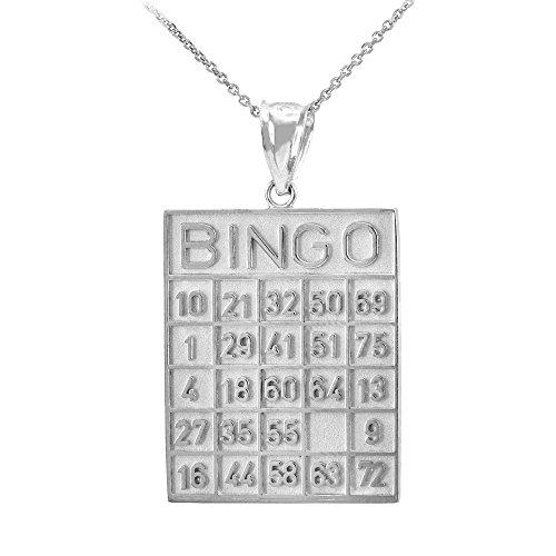 Collier Femme Pendentif 10 Ct Or Blanc Bingo Card Carré Tile (Livré avec une 45cm Chaîne)