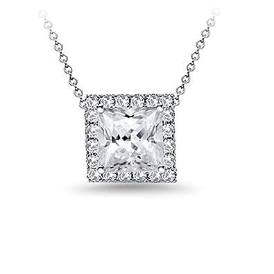 Amazon princess cut diamond pendant with square pave diamond princess cut diamond pendant with square pave diamond halo on wheat chain aloadofball Images
