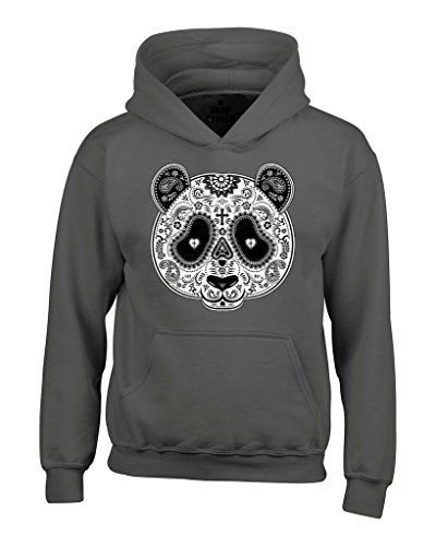 Shop4Ever Day of Dead PANDA Skull Hoodies #17339 Day Of Dead Sweatshirts X-Large Charcoal ()