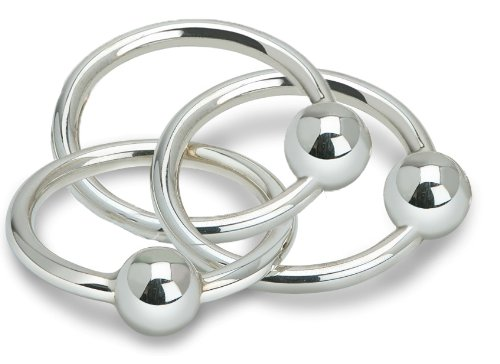 Krysaliis Sterling Silver Baby Teether and Rattle, Three Ring by Krysaliis