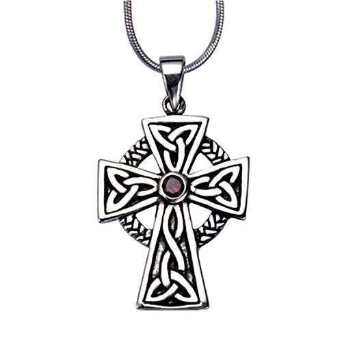Charms Scottish Black - 925 Sterling Silver Celtic Irish Cross Red Garnet Stone Pendant on Alloy Necklace Chain, 18 inches