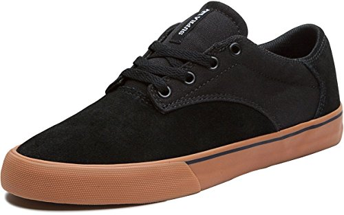 Pattino Da Skate Supra - Mens In Pelle Scamosciata Nera / Gomma Canvas Nera, 11.0