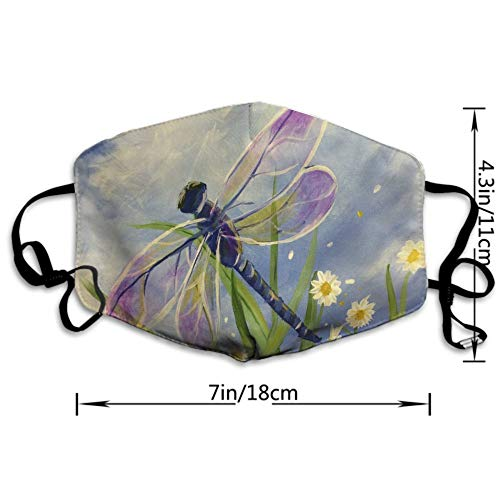 NEWKOW Mouth Mask Unisex Cute Shape for Kids Teens Men Women Lovers, Anti-Dust Windproof Motorcycle Face Masks Floral Dragonfly