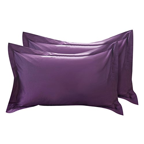 uxcell Pillow Shams Oxford Style Pillow Cases Egyptian Cotton 300 Thread Count Solid/Plain Pattern Plum Color 20 x 30 Inch Set of 2 (Shams Plum Pillow)