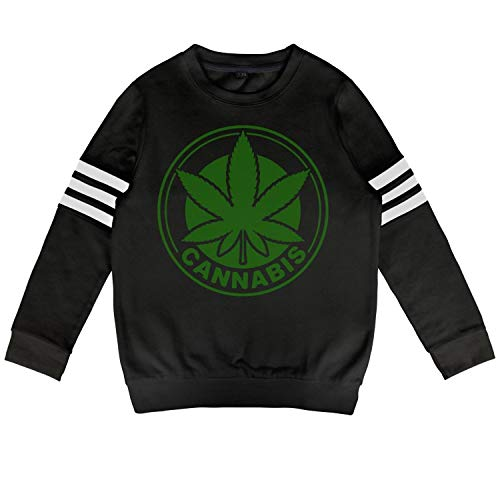 (Cannabis Green Leaf inscribed in a Circle for Your Logo Children's Wool Warm Sweater with Pocket)