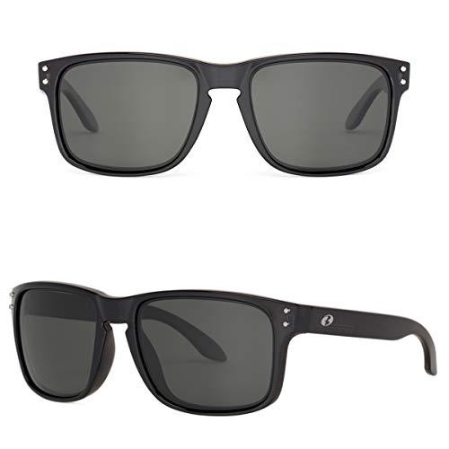 BNUS Square Black frame Polarized Sunglasses for men women Square Black frame grey glass lens (Black/Grey Polarized, Polarized Size:56mm(M)) (Little Black Dot On The Sun Today)