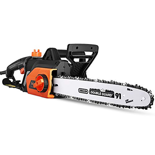 TACKLIFE Electric Chainsaw, 18-Inch Corded Chainsaw, Powerful 15-Amp Copper Motor, Chain Speed 13m/s, Lightweight, Auto Oiling, Tool-Free Chain Tensioning, Protecting Case Included, GCS15A